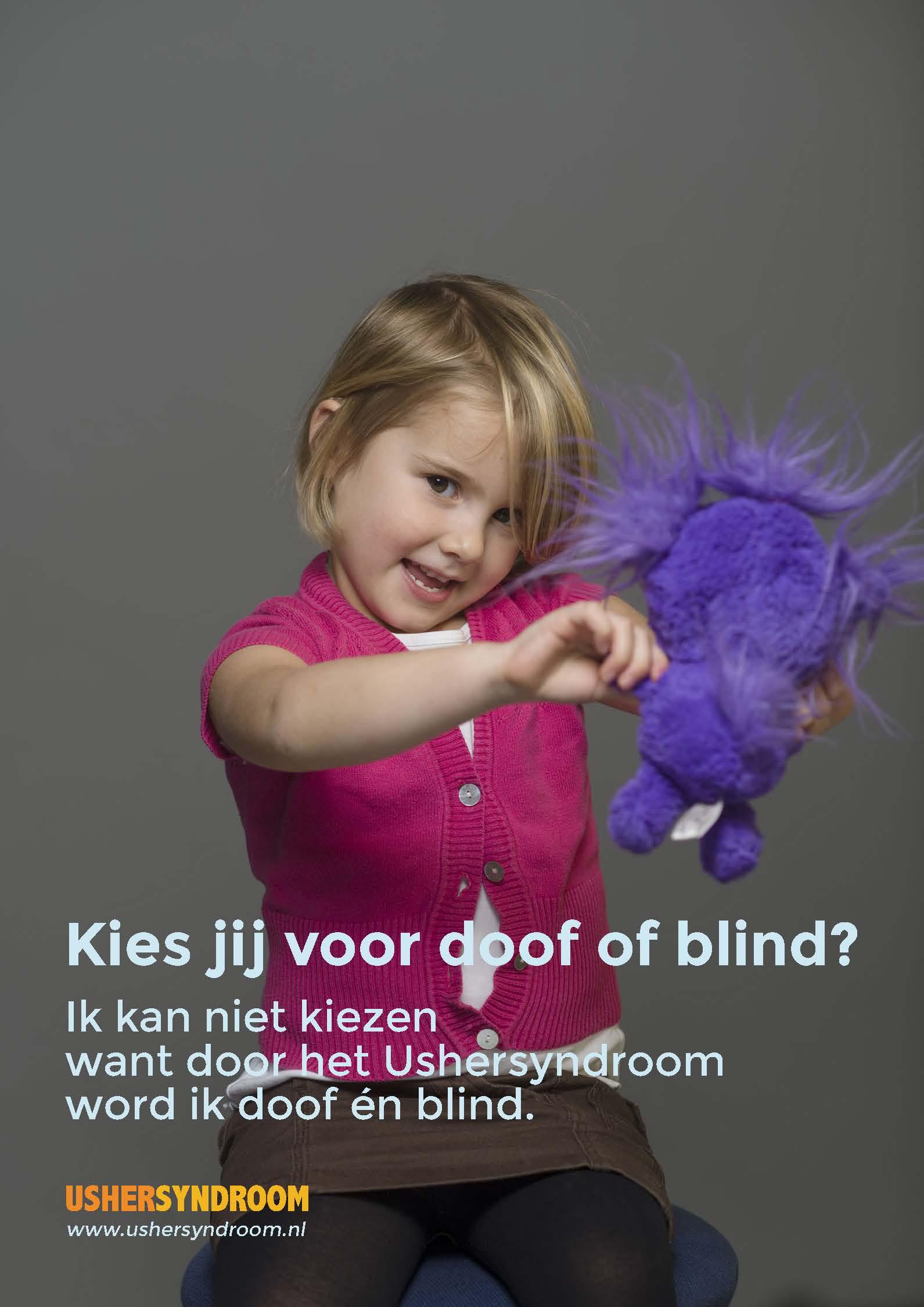 Campagne poster 'Kies jij voor doof of blind?'