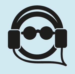 Poppetje met zonnebril en koptelefoon