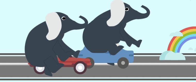 Een cillage van een grote olifant in een groene Fiat Panda. Erachter een 2e olifant.
