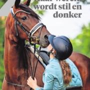 Nikki staat voor haar grote paard